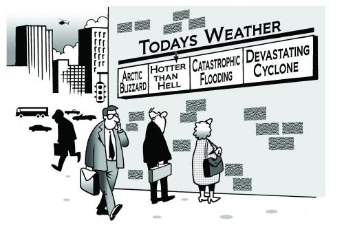 Cartoon: todays weather (medium) by toons tagged weather,environment,google,ecology,greenhouse,gases,pollution,day,