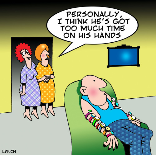 Cartoon: too much time (medium) by toons tagged watches,clocks,timepiece,lazy,wrist,watch,alarm,clock,bored,retired,marriage