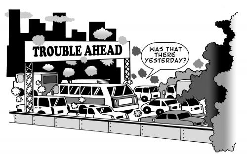 Cartoon: trouble ahead (medium) by toons tagged cars,pollution,highways,freeways,motorways,environment,ecology,greenhouse,gases,earth,day