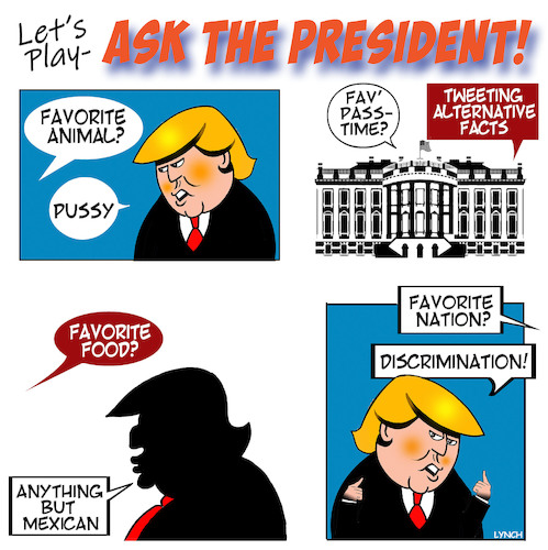 Cartoon: Trump questions (medium) by toons tagged discrimination,trump,racist,pussy,grab,games,discrimination,trump,racist,pussy,grab,games