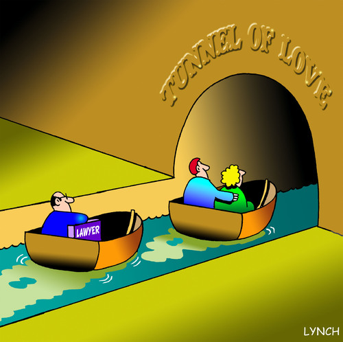 Cartoon: tunnel of love (medium) by toons tagged lawyers,tunnel,of,love,divorce,relationships