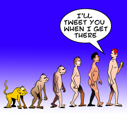 Cartoon: Tweet you (medium) by toons tagged twitter,tweets,mobile,phones,cell,evolution,darwin,theory,apes,monkeys,communications,mankind,texting,sms