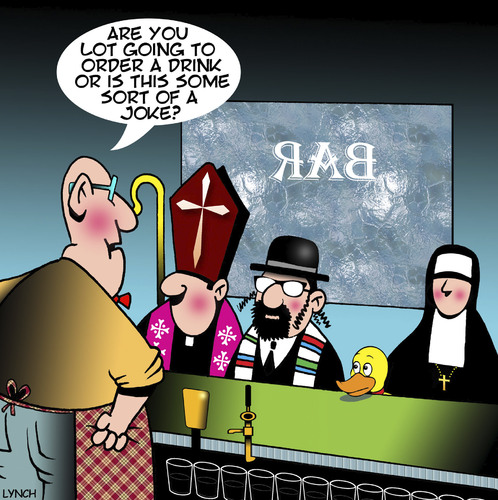 Cartoon: Walk into a bar (medium) by toons tagged rabbi,classic,jokes,priest,nun,duck,rabbi,classic,jokes,priest,nun,duck