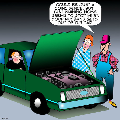 Cartoon: Whining husband (medium) by toons tagged complaining,whining,car,repairs,mechanic,complaining,whining,car,repairs,mechanic