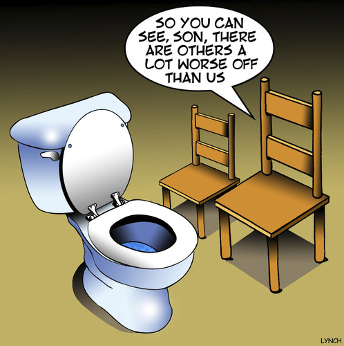 Cartoon: Worse off (medium) by toons tagged toilet,cistern,less,fortunate,worst,job,furniture,chairs,seating,toilet,cistern,less,fortunate,worst,job,furniture,chairs,seating