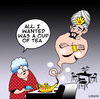 Cartoon: A Cuppa (small) by toons tagged genie in bottle cup of tea ovens three wishes coffee kitchen stove