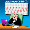 Cartoon: Ace trampoline Co (small) by toons tagged trampoline,pogo,stick,charts,sales,bounce,spring,laptop,economy,exercise,business