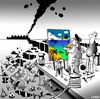 Cartoon: Artistic licence (small) by toons tagged art,artistic,licence,pollution,ecology,oil,spill,gallery,artist,view,global,warming,garbage,pallete,painting,critic