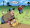 Cartoon: Clay pigeon shooting (small) by toons tagged farmyard,animals,clay,pigeons,shooting,chickens,chooks,rifles,fowls,shotguns