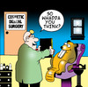 Cartoon: cosmetic dental surgery (small) by toons tagged dentist,cosmetic,surgery,beaver,surgeon,doctor,implants,collegen,plastic,false,teeth,capped,buck,botox