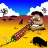 Cartoon: digeridoo (small) by toons tagged digeridoo,aboriginal,music,kangaroo,snakes,reptiles,wombats,australia,outback,desert
