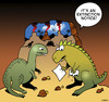 Cartoon: Extinction notice (small) by toons tagged dinosaurs,stone,age,extinct,eviction,homeless