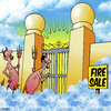 Cartoon: fire sale (small) by toons tagged heaven,hell,devil,angels,religion,sales,god,lucifer,fire,sale