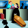 Cartoon: Flight of Dracula (small) by toons tagged dracula,airline,check,in,air,travel,aircraft,airport,blood,sucking,coffin