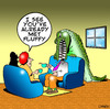 Cartoon: Fluffy (small) by toons tagged crocidiles,pets,alligators,reptiles,fluffy,animals,toys,cannibal,household