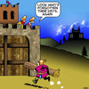 Cartoon: Forgot my keys (small) by toons tagged castle,siege,storm,the,lost,keys,medieval,castles,break,down,walls
