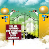 Cartoon: Gated community (small) by toons tagged gated,community,pearly,gates,angels,gods,country