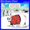Cartoon: Global warming (small) by toons tagged polar,bears,hawaiian,shirts