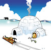 Cartoon: Happy hound (small) by toons tagged eskimo,dogs,husky,igloo,winter,sled,bones,polar,bear,snow,fish,warmth,blizzard