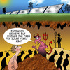 Cartoon: Hell goes solar (small) by toons tagged solar,panels,hell,the,devil,sustainable,energy,heating,fires,and,eternal,damnation,god,heaven,environment,alternative,of,windfarms