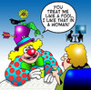 Cartoon: I like that in a woman (small) by toons tagged clowns,circus,relationships,fools,dating,online,facebook,amusement,performer,comedian