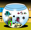 Cartoon: In case of fire (small) by toons tagged fish tank fire extinguisher fireman safety tropical seafood beach star shells bowl kippers