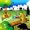 Cartoon: Lazy beaver (small) by toons tagged beavers,animals,logging,trees,chainsaw,tree,conservation,lazy,buck,teeth,tools,saw,plants