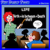 Cartoon: Meaning of life (small) by toons tagged the,meaning,of,life,birth,death,schooling,teacher,students
