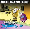 Cartoon: Moses as a boy scout (small) by toons tagged moses,boy,scouts,good,deeds,god,red,sea,staff,older,people,traffic,city,buildings