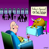 Cartoon: Ox tail soup (small) by toons tagged soup ox tail restaurants menu food drink waiters cafe animals cows oxen beast of burden