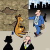 Cartoon: pocket money (small) by toons tagged kangaroos,australia,begging,loose,change
