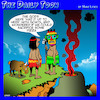Cartoon: Sacrifice to the Gods (small) by toons tagged human,sacrifice,goats,pizza,volcano