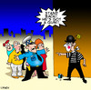 Cartoon: stand back (small) by toons tagged mime,police,gun,control,street,performer,circus,entertainment