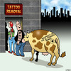Cartoon: Tattoo removal (small) by toons tagged tattoo,removal,branding,iron,cattle,tattoos,animals