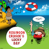 Cartoon: TGIF (small) by toons tagged robinson,crusoe,thank,god,its,friday,desert,island,life,preserver,raft,tgif