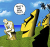 Cartoon: The new guy (small) by toons tagged easter,island,the,thinker,statues,carvings,sculpture