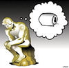 Cartoon: The Thinker (small) by toons tagged sculpture toilet paper art the thinker