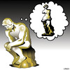 Cartoon: the thoughts of man (small) by toons tagged the,thinker,roden,statues,art,sculpter,venus,de,milo