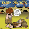 Cartoon: This may hurt (small) by toons tagged dentist,dental,care,dentures,teeth,caveman,prehistoric