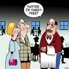 Cartoon: Twitter or non (small) by toons tagged twitter,tweets,restaurants,social,networking,facebook,media