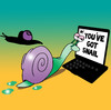 Cartoon: you got snail (small) by toons tagged mail,communications,twitter,facebook,social,networking,laptop,snails,computers,slugs