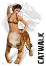 Cartoon: Catwalk (small) by toonsucker tagged catwalk,model,wild,cat,katze,tiger,mode,fashion,trend,mutation,tier,girl,show,sexy