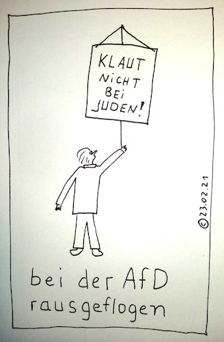 Cartoon: bei der AfD rausgeflogen (medium) by Müller tagged afd,klauen,juden