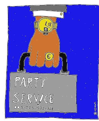 Cartoon: Party-Service (medium) by Müller tagged party,partyservice,drogen,drugs,kokain,cocain,illegal