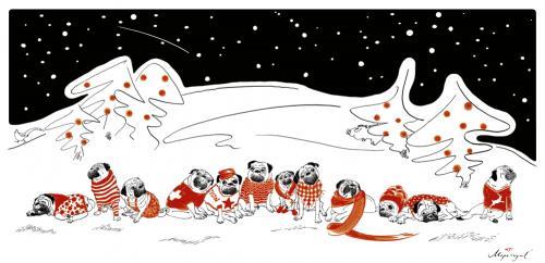 Mops Bilder Weihnachten.Wintermöpse By Mops Royal Philosophy Cartoon Toonpool