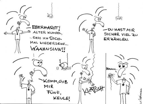 Cartoon: Wiedersehen (medium) by naLe tagged spinne,spider,five,fünf,kumpel,buddy