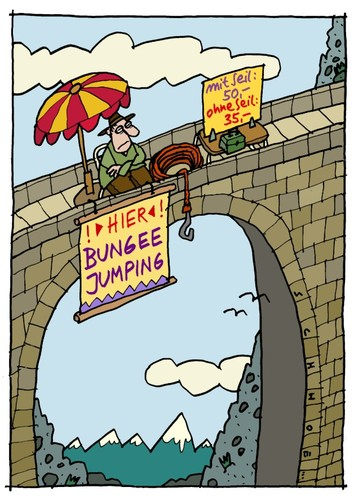 Cartoon: Bungee Jump (medium) by schwoe tagged bungee,jumping,gefahr,kitzel,spannung,extremsport