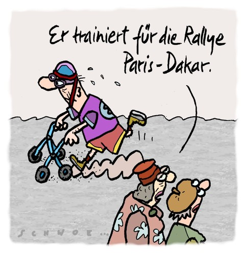 Cartoon: Rallye (medium) by schwoe tagged fitness,alter,senior,ralley,gehhilfe,rollator