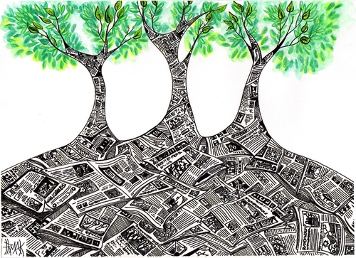Cartoon: THE FOREST OF RECYCLE (medium) by majezik tagged forest,recycle