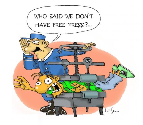 Cartoon: press freedom (medium) by Luiso tagged press